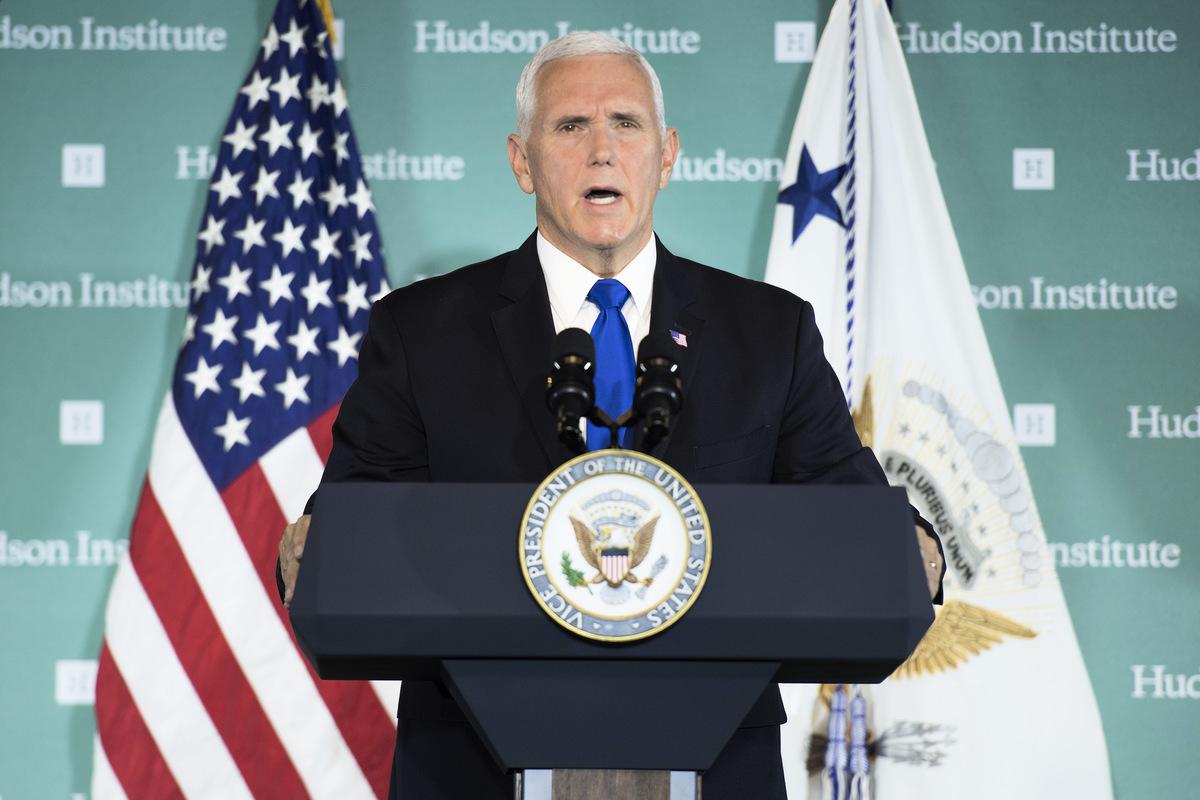 美國副總統彭斯2018年10月初發表演講,批評中共為了進行滲透,在全世界各地的宣傳機構花費了高達數以十億計的美元。(Jim WATSON/AFP)
