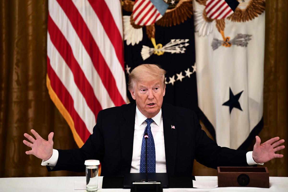 美國總統特朗普2020年5月20日表示,他正在考慮與世界主要經濟體領導人舉行七大工業國集團(G7)峰會,地點仍在美國戴維營。(Brendan Smialowski/AFP)