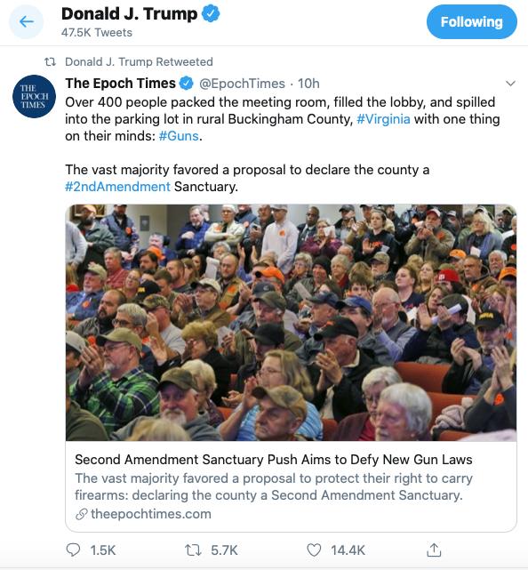 美國總統特朗普聖誕前在其推特帳號上轉發了英文《大紀元》關於第二修正案個人持槍權的文章。(特朗普推特截圖)