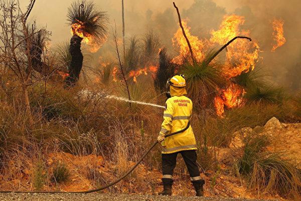 2021年2月2日,澳洲珀斯,消防人員正在控制森林大火。(Paul Kane/Getty Images)