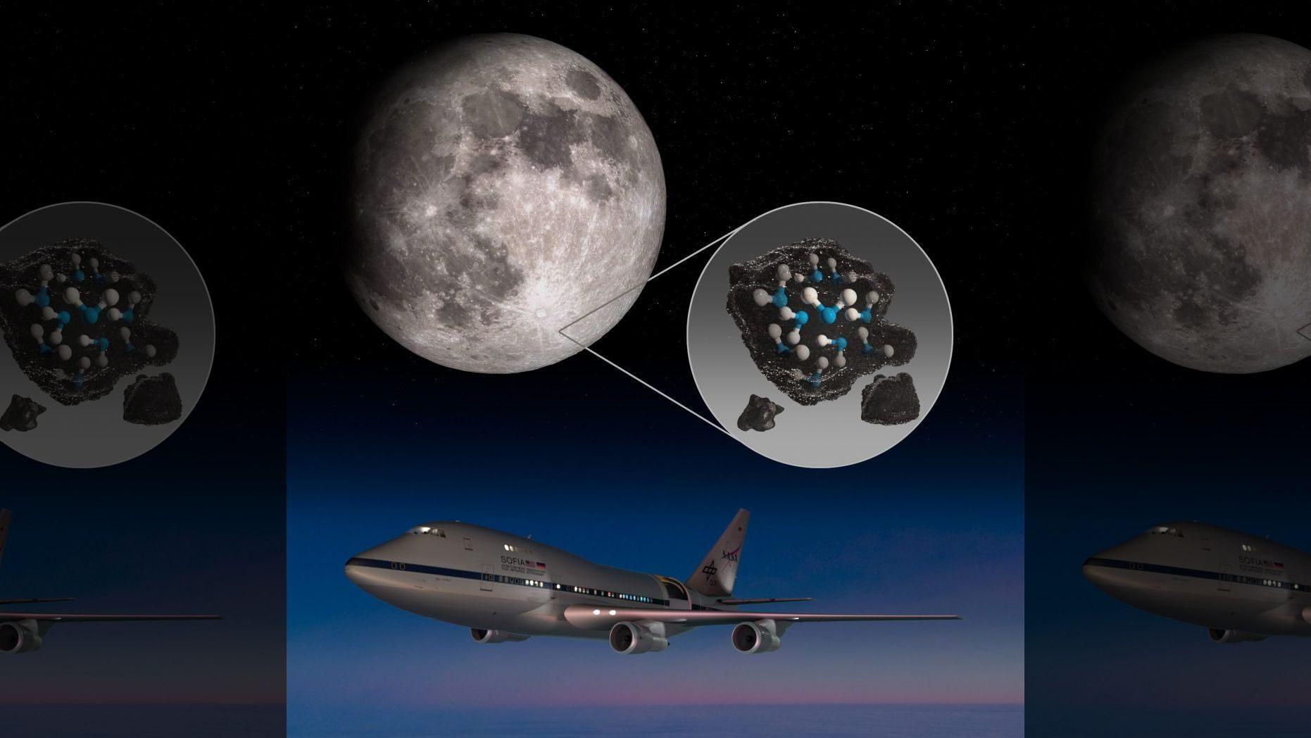 該圖突出顯示了月球表面上的克拉維斯環形山(Clavius),並描繪了困在月球土壤中的水,以及在月球陽面發現水的NASA(美國太空總署)平流層紅外天文觀測台(SOFIA)。(NASA)