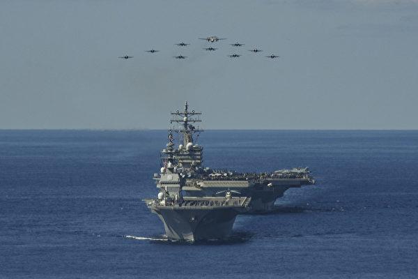 2020年10月26日,列根航空母艦(CVN 76)與日本海上自衛隊和加拿大海軍的護衛艦,一起參加「利劍」演習(Keen Sword 21)。超過9000人和100多架飛機參加此次演習,一直持續到11月5日。(美國印太司令部)