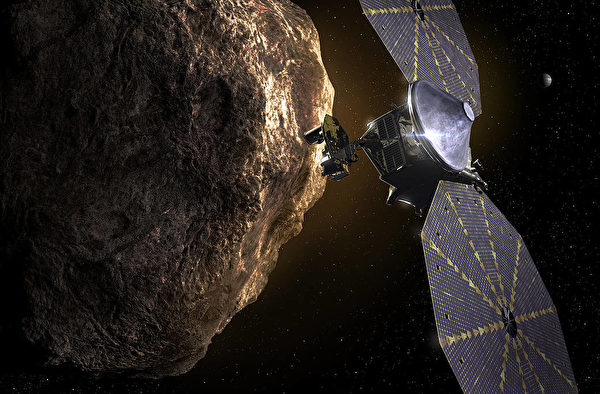 Lucy探測器造訪小行星假想圖。(NASA)