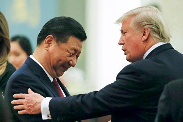 隨著中美雙方在台灣、南海、貿易、科技、人權等領域展開全方位的對抗,雙方關係已經跌入建交幾十年來的最低潮。圖為特朗普與習近平2017年11月9日在北京見面。(Thomas Peter - Pool/Getty Images)