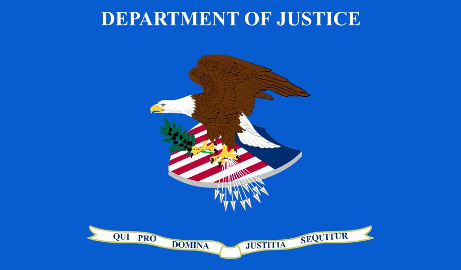 2020年8月17日,美國中央情報局一名前職員被指控向中國(中共)出售美國機密。圖為美國司法部標識。(公有領域)