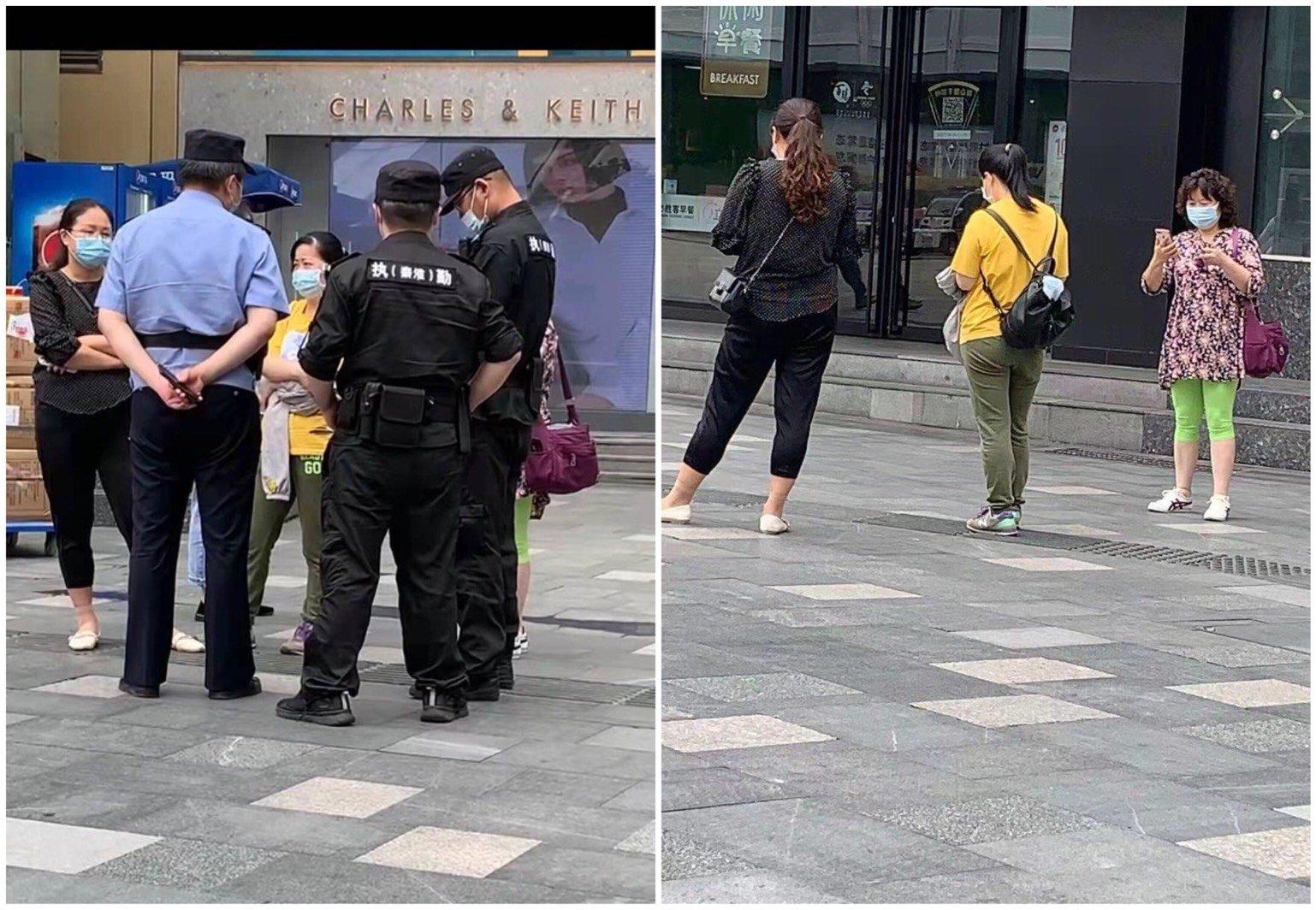 6月13日,吳菊芳逃出家後到南京市新街口的中央商場,跟監人員伍和雲、梅芬一路尾隨。於是打110報警,警察說:「這是政府行為不受理。」(受訪者提供/大紀元合成)