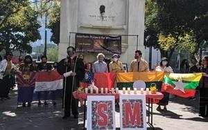 洛杉磯亞裔市府前悼念 關注緬甸抵制中共