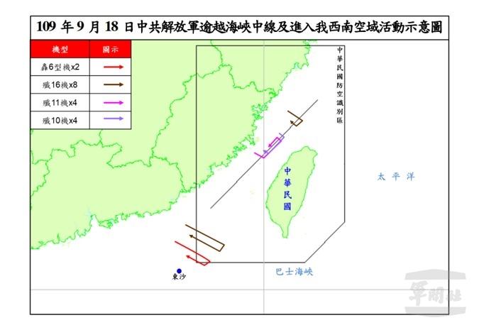 國防部資料顯示,9月19日上午中共派遣19架軍機逾越海峽中線。圖為國防部公佈的監控航跡圖。(國防部提供)