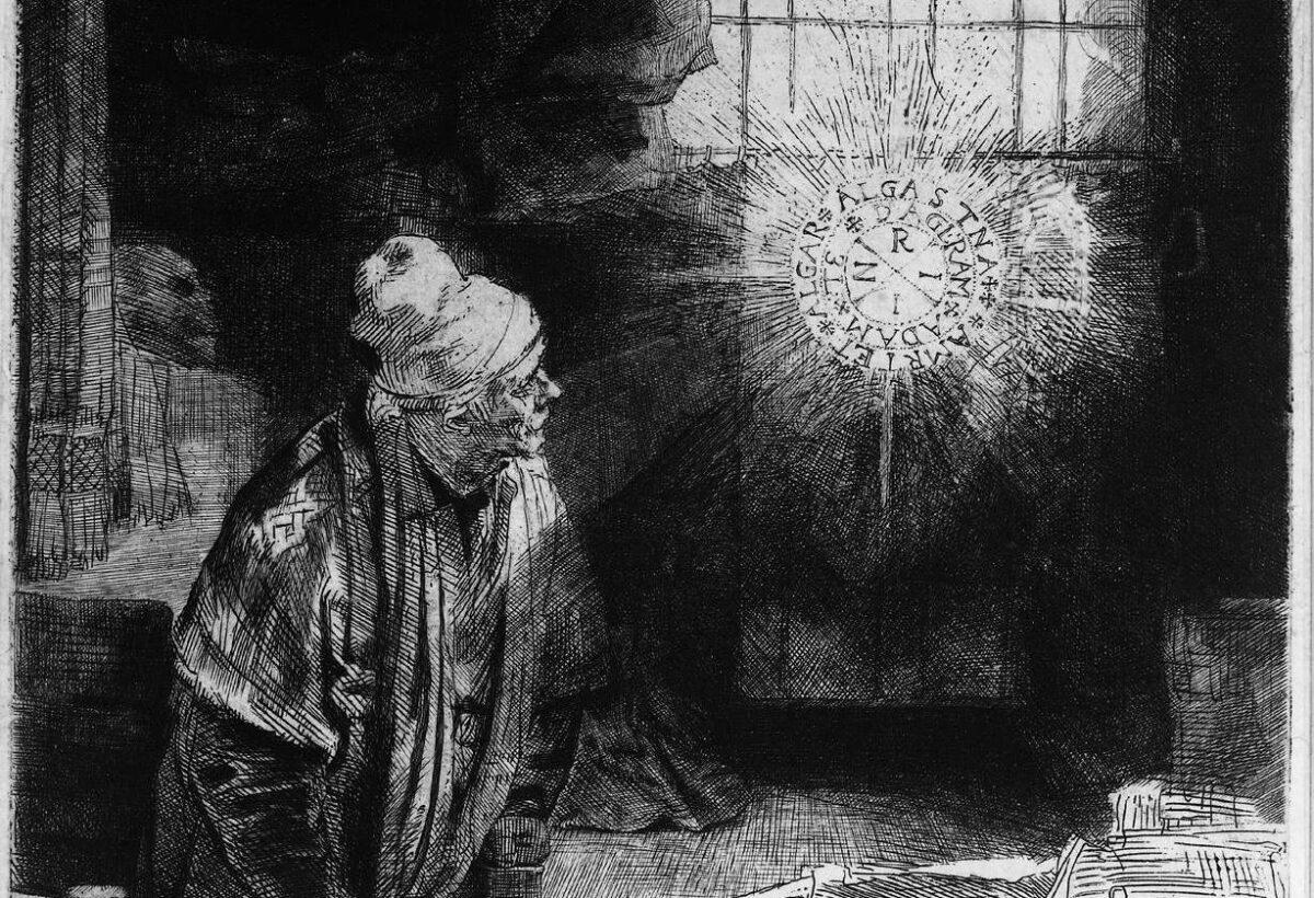 把自己的靈魂賣給魔鬼後,浮士德得到了神祕的知識。來自於《浮士德》的一個細節。大約1652年,作者倫勃朗,國立博物館(Rijksmuseum),阿姆斯特丹(Amsterdam)、荷蘭(Netherlands)。(公共領域)