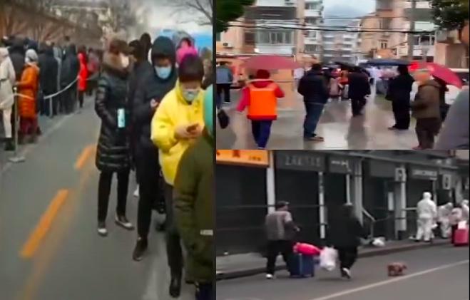 上海黃浦區昭通路居民區(圖右上)被升疫情中風險區後,當地居民被分批轉運(圖右下),達千人。北京多地進行核酸檢測(圖左)。(影片截圖合成)