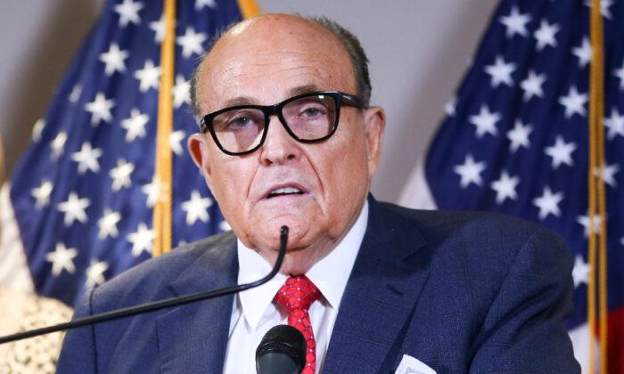 前美國總統特朗普的私人律師魯迪·朱利亞尼(Rudy Giuliani)。(Charlotte Cuthbertson/大紀元)