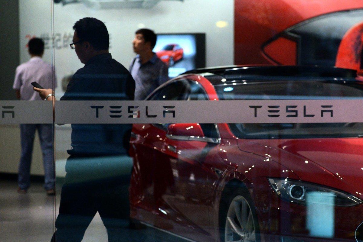 位於北京的Tesla展廳。(WANG ZHAO/AFP via Getty Images)