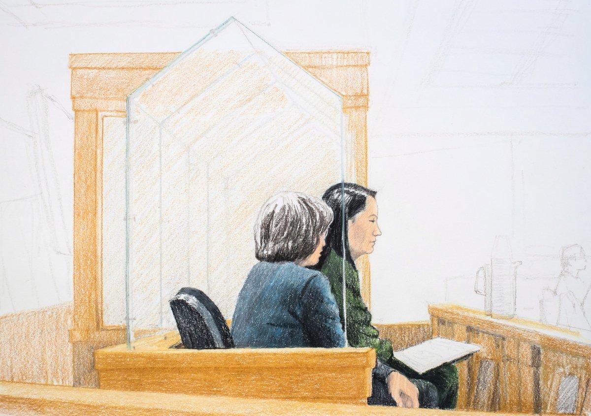 2018年12月7日,華為公司首席財務官孟晚舟(右)的保釋聆訊在位於溫哥華的加拿大卑詩高等法院召開,她身邊是一名翻譯員。12月1日,孟晚舟在溫哥華國際機場轉機時被捕,她面臨被引渡到美國。(加通社,THE CANADIAN PRESS/Jane Wolsak)