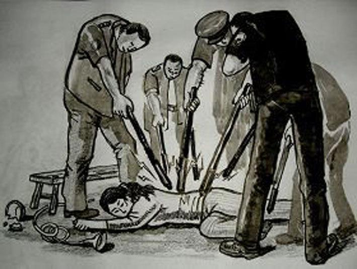 中共酷刑演示圖,多根高壓電棍同時電擊折磨人(明慧網)