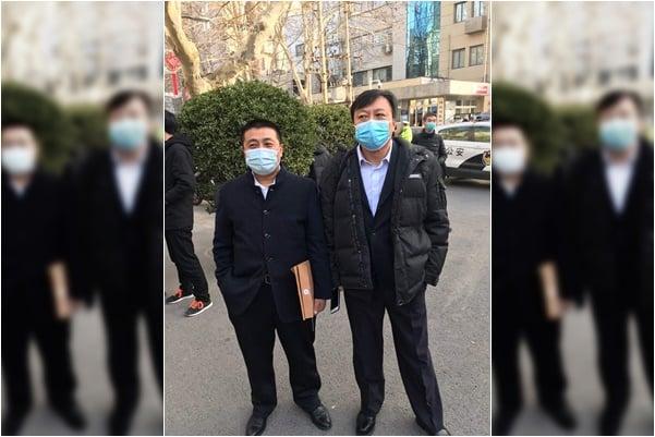 2021年1月29日上午,河南省司法廳非法舉行聽證會。左為任全牛,右為包龍軍律師。(知情人提供)