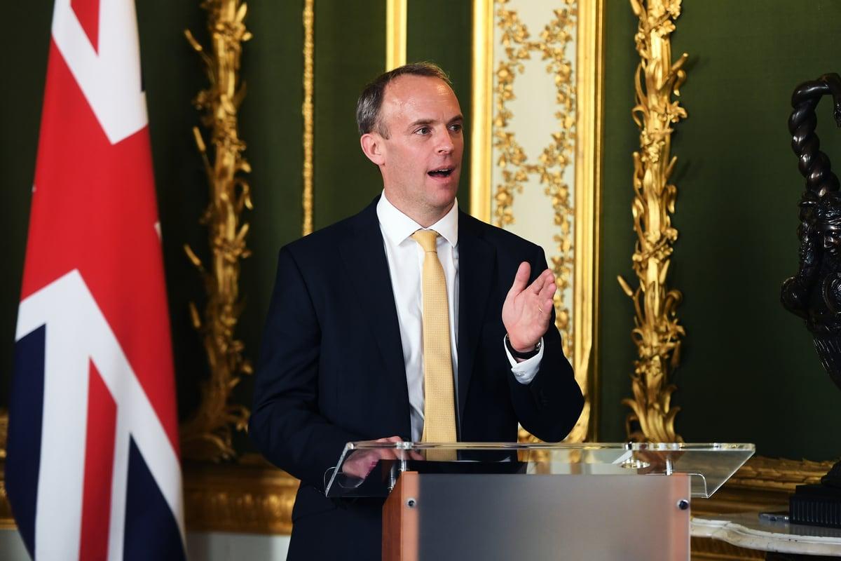 英國外交大臣藍韜文(Dominic Raab)。(Peter Summers - WPA Pool/Getty Images)