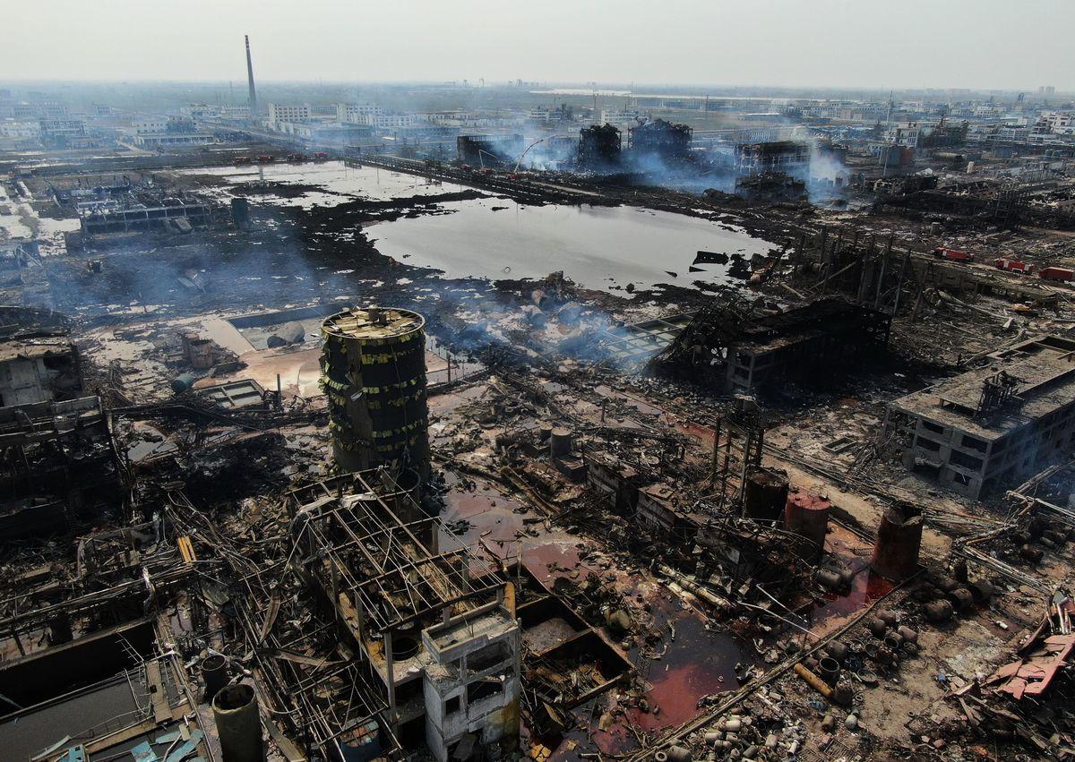 2019年3月21日,江蘇鹽城響水縣發生爆炸事故。(Getty Images)