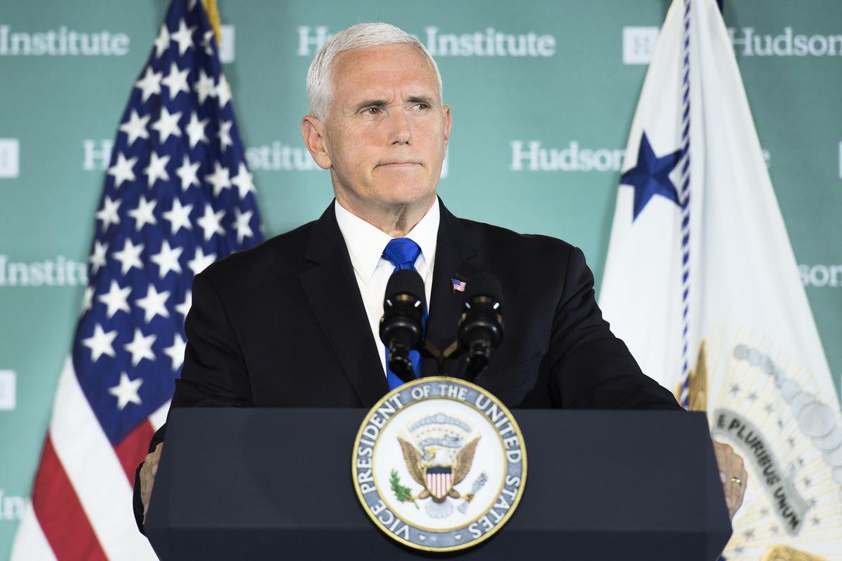 美國副總統彭斯(Mike Pence)2018年10月在華盛頓智庫哈德遜研究所發表演講,被視為美中關係全面調整的重大轉捩點。 (Jim WATSON / AFP)