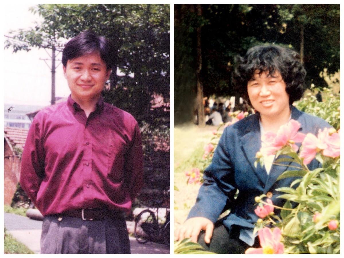 武漢李瑩秀(右圖)一家五口人因修煉法輪功遭受迫害。2001年4月,她和兒子彭敏(左圖)相繼被中共當局虐殺。(明慧網)