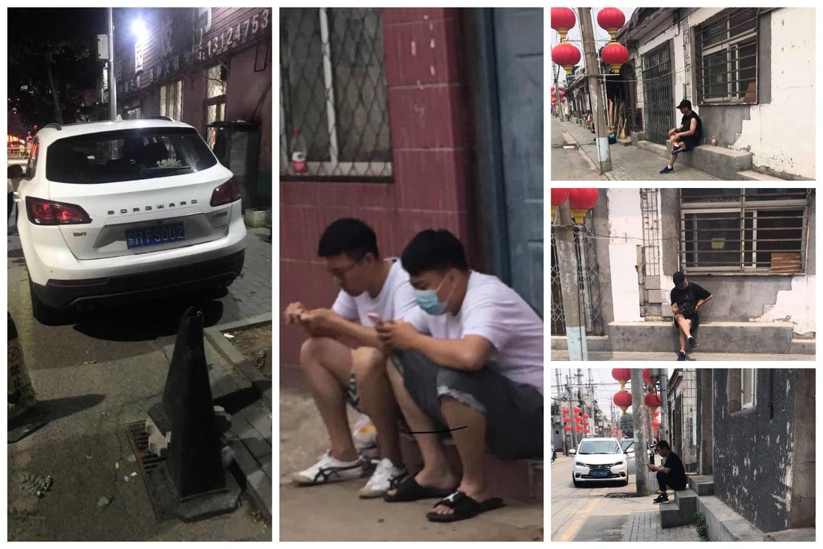 劉華家門口的盯梢維穩人員及車輛。(受訪者提供)