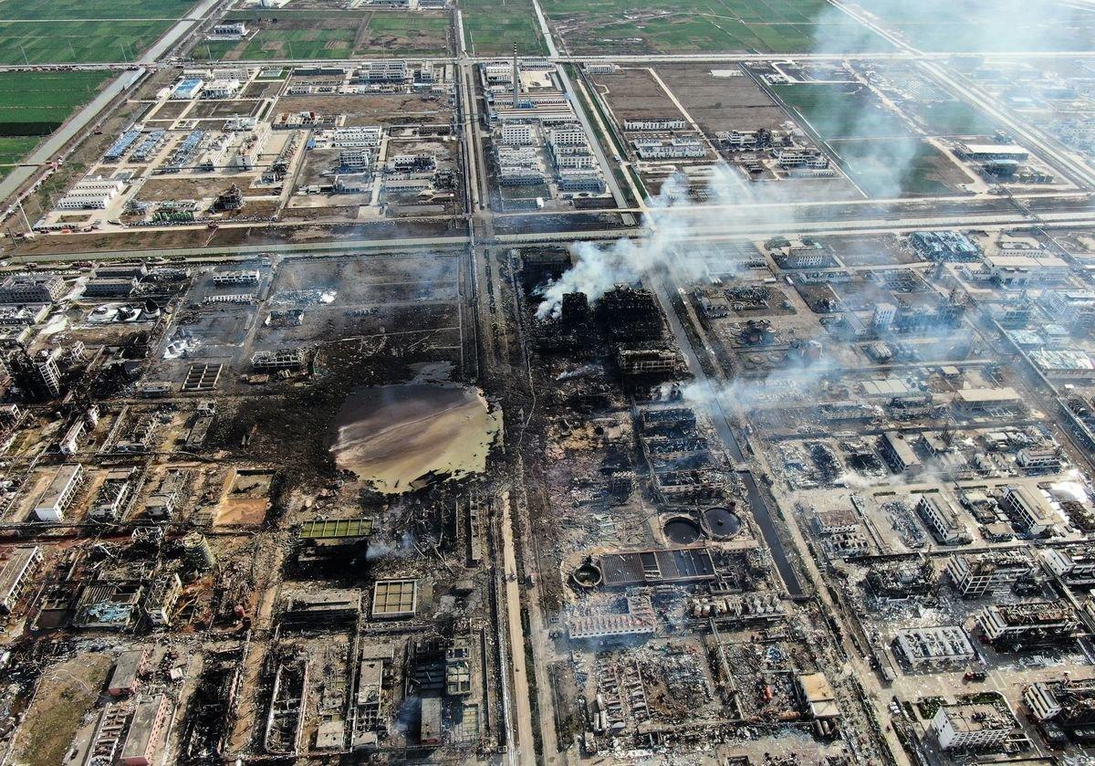 江蘇鹽城響水縣陳家港鎮化工園區內的天嘉宜化工公司於3月21日發生爆炸事故。(AFP/Getty Images)