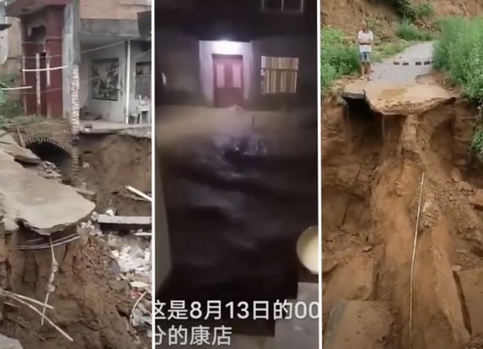 河南鞏義7月20日洪災過後,尚未恢復,8月13日凌晨,再遭暴雨襲擊。(影片截圖)