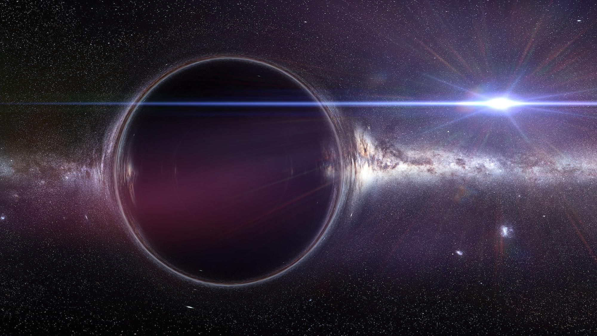 星系大小的巨型黑洞示意圖。(ShutterStock)