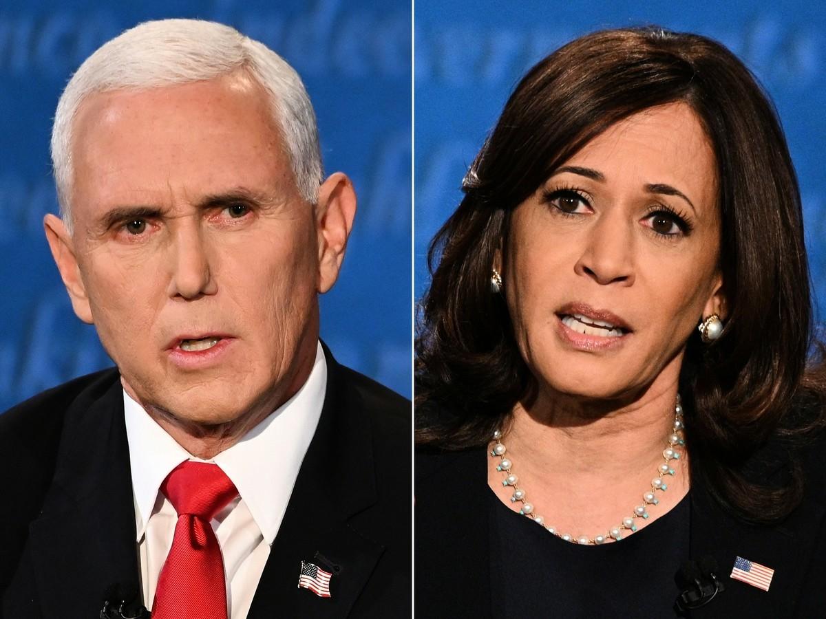 10月7日,彭斯和賀錦麗(哈里斯)辯論。(ERIC BARADAT,ROBYN BECK/AFP via Getty Images)