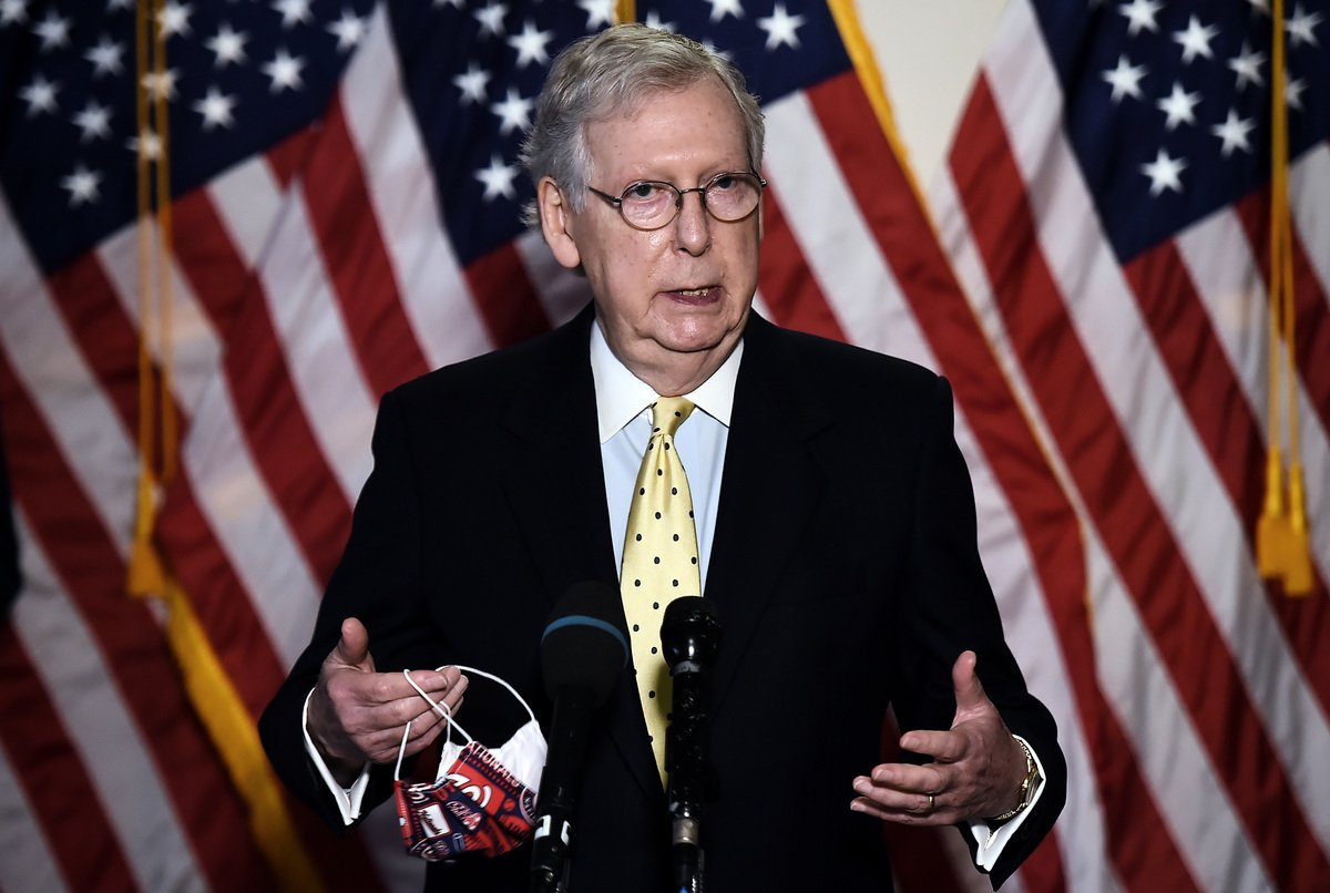 美國參議院多數黨領袖米奇‧麥康奈爾(Mitch McConnell)。(OLIVIER DOULIERY/AFP via Getty Images)