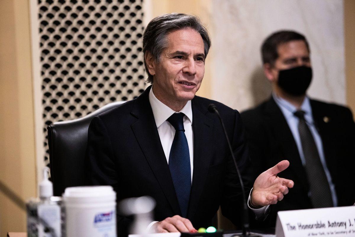 周二(1月19日)下午2:00,美國當選總統拜登提名的國務卿布林肯(Antony Blinken)在參議院外交關係委員會舉行的提名聽證會上作證。(GRAEME JENNINGS/POOL/AFP via Getty Images)