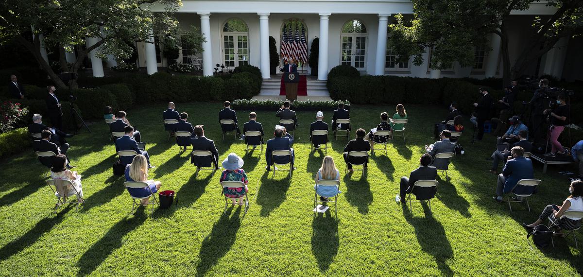 圖為特朗普總統2020年7月14日在白宮玫瑰園講話。(JIM WATSON/AFP)
