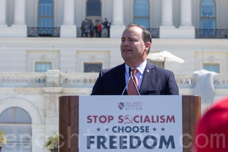 9月19日,「茶黨愛國者」(Tea Party Patriots)在美國國會山集會,制止共產主義在美蔓延。參議員Mike Lee發言。(林樂予/大紀元)
