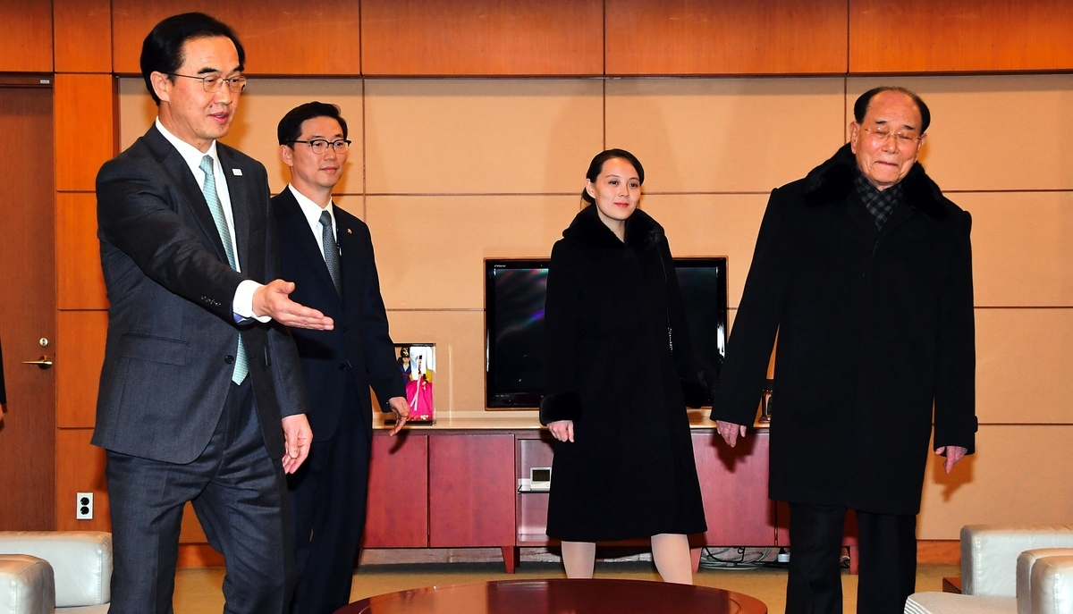韓朝會談期間,金正恩胞妹金與正(右2)穿著黑大衣現身。(Dong-A Ilbo/AFP)