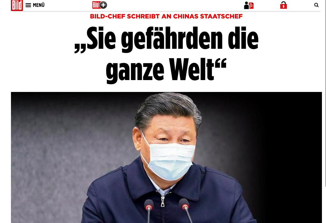 2020年4月16日,德國《圖片報》總編發出致習近平公開信。(網絡截圖)