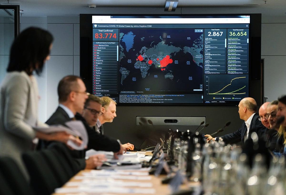 2月28日,由德國聯邦內政部和衛生部成立的緊急處理小組開會,商議中共病毒疫情應對措施。(Sean Gallup/Getty Images)