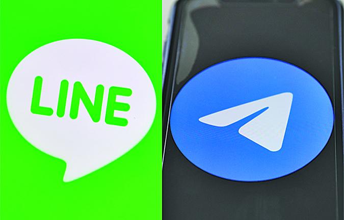 由於微信監控言論,海外華人很多已開始轉用手機程式Line和Telegram(電報),做應對準備。(大紀元合成圖片)