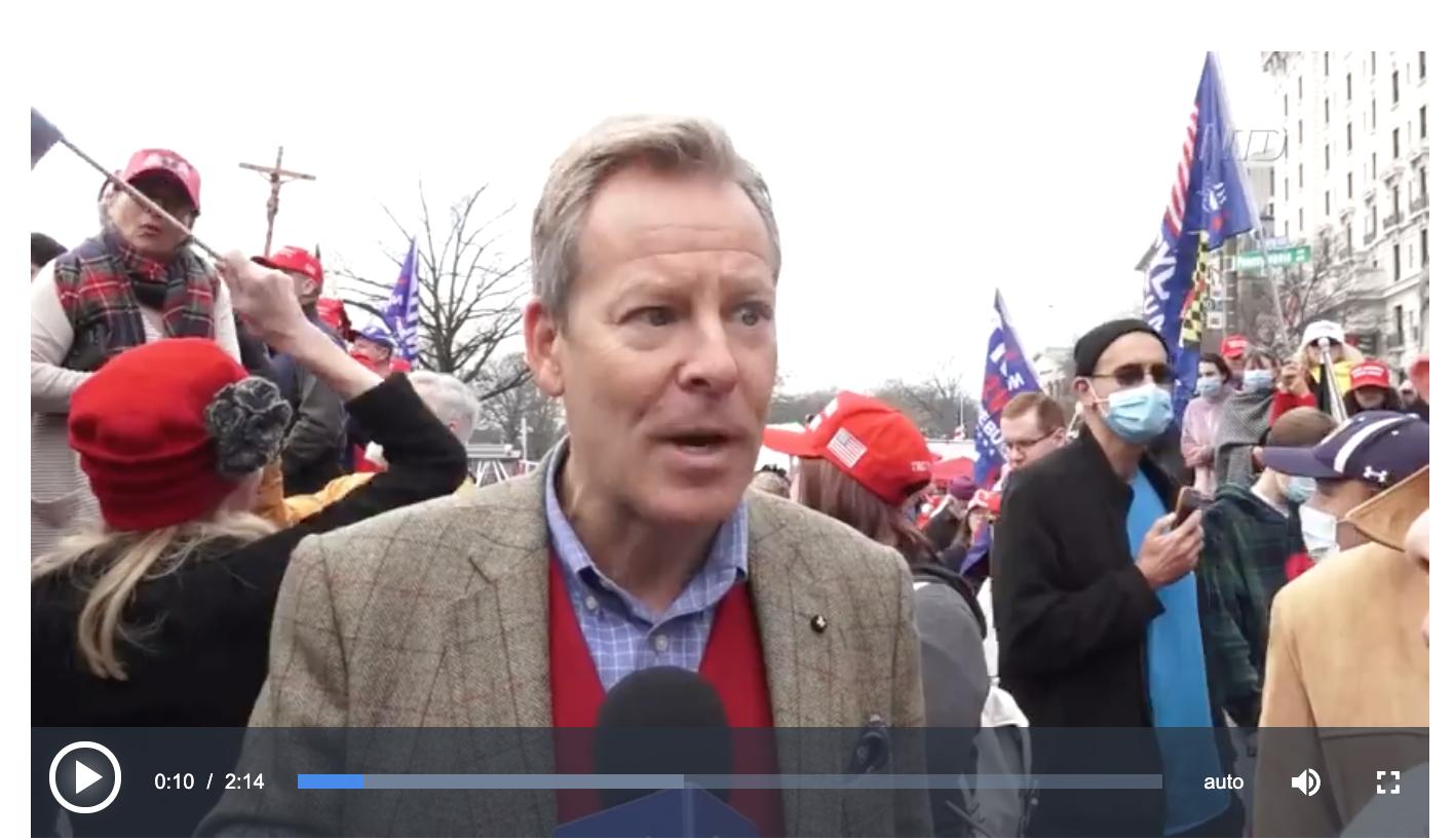 2020年12月12日,在美國首都華盛頓DC舉辦了「制止竊選、支持特朗普連任」的大型遊行集會活動。約翰·多布羅夫斯基博士表示,停止竊選是一場無法阻止的運動。(新唐人電視台影片)