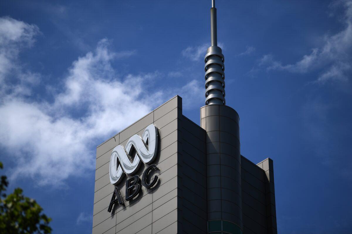 澳洲廣播公司的標誌。(SAEED KHAN/AFP via Getty Images)