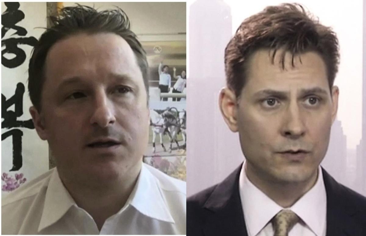 自孟晚舟事件後,中共已扣押兩名加拿大人康明凱(Michael Kovrig,右)和斯帕弗(Michael Spavor,左)至今。(加通社)
