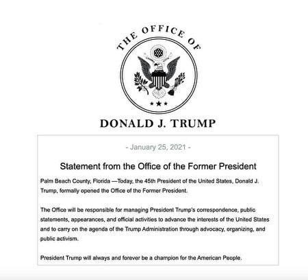 前總統特朗普1月25日宣佈在佛州正式成立辦公室。(前總統特朗普辦公室)