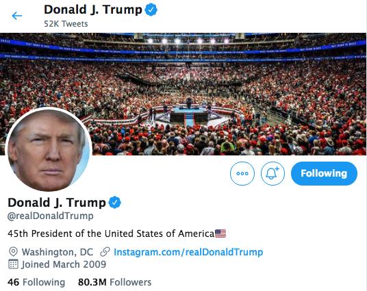美國總統特朗普5月27日推文警告說,因社交媒體公司完全噤聲保守派,可能對這些公司採取「大行動」,進行監管、甚至關閉。圖為特朗普的推特帳號截圖。