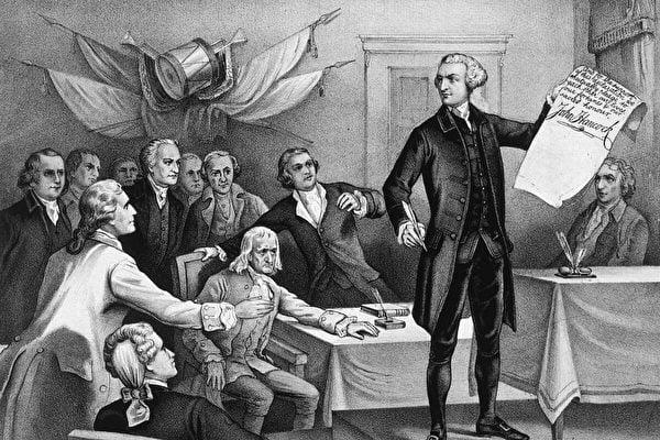 1776年7月4日:大陸會議主席約翰·漢考克(John Hancock,1737–1793)率先簽署《獨立宣言》,愛國者羅伯特‧莫里斯(Robert Morris),塞繆爾‧亞當斯(Samuel Adams),本傑明‧拉什(Benjamin Rush),理查德‧亨利‧李(Richard Henry Lee),查理斯‧卡羅爾(Charles Carroll),約翰‧威瑟斯龐(John Witherspoon),約翰‧亞當斯(John Adams)和愛德華‧拉特裏奇(Edward Rutledge)在注視著。原始藝術品:Currier&Ives印刷。(MPI/Getty Images)