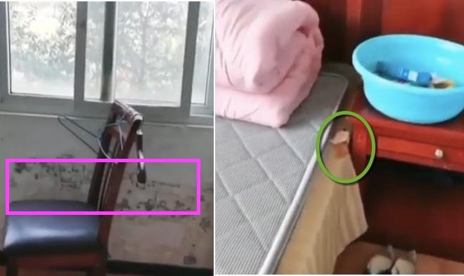 疑似返京的女士被安排在之前中共肺炎確診病人康復的地方,床上還有之前病人礽下的橘子皮。(影片截圖合成)