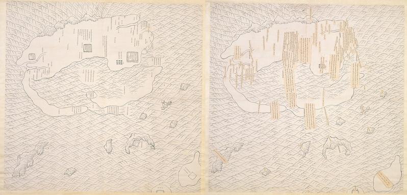 台灣國立故宮博物院於4月23日推出「說‧古地圖」特展,圖為〈台灣略圖〉。(台灣故宮提供)