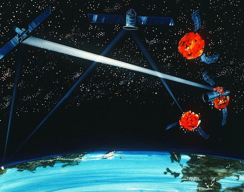 衛星攻擊衛星的概念。(公有領域)