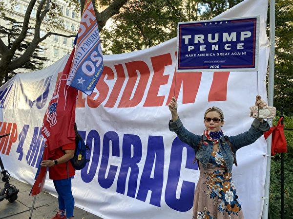 2020年10月21日,新澤西挺特居民瑞秋說,她對特朗普的抗疫措施非常滿意。(施萍/大紀元)