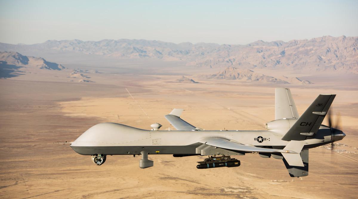2020年1月14日,MQ-9「收割者」無人機在內華達州訓練。(Airman 1st Class William Rio Rosado/美國空軍)