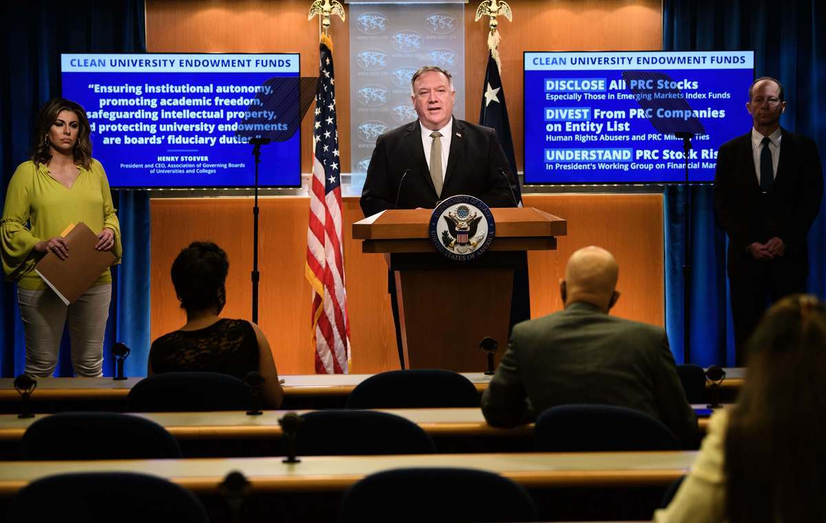2020年9月2日上午10:00,美國國務卿蓬佩奧舉行新聞發佈會。(NICHOLAS KAMM/POOL/AFP via Getty Images)