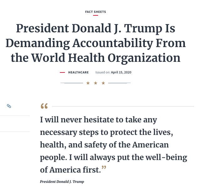圖為白宮2020年4月15日發出的通告,要求世界衛生組織對本次中共病毒疫情擔負責任。(白宮截圖)