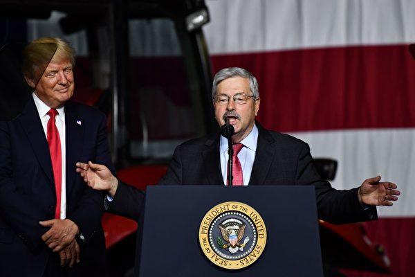 近日,美國總統特朗普(左)暗示在疫情問題上被習近平騙了,而駐華大使特里・布蘭斯塔德(右)批評中共掩蓋疫情。圖為資料照。(NICHOLAS KAMM/AFP via Getty Images)